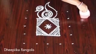Download very easy peacock rangoli design with 5x5 dots l simple kolam design l small daily muggulu Video