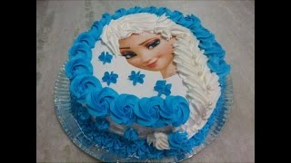 Download Bolo Elsa (Frozen), com trança de chantilly e papel arroz. Video