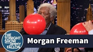 Download Morgan Freeman Chats with Jimmy While Sucking Helium Video