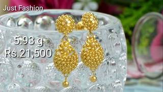Download Designer gold Earrings with weight and price Video