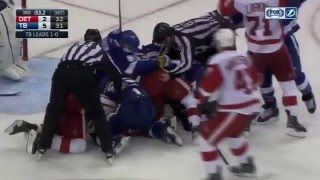 Download Huge Line Fight Tampa Bay Lightning vs Detroit Red Wings 2016 Stanley Cup Playoffs Rd 1 Game 2 NHL Video