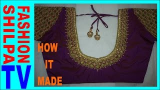 Download How to make Designer blouse at Home-44|| maggam work neck line || zardosi work for beginners | Video