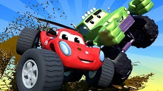 Download Monster Trucks Cartoons For Children Trucks & Cars videos for kids ! Monster Town Car City LIVE! Video