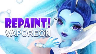 Download Repaint! Vaporeon Pokemon Eeveelution Custom Monster High Ooak Doll Video