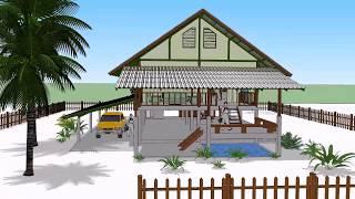 Download บ้านใต้ถุนสูง หลังคาจั่ว ( No. 001 ) Sketchup by : i. pakdee Video