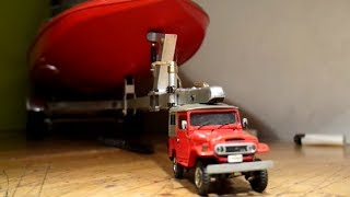 Download RC 1/43 scale Toyota Land Cruiser FJ40 tow giant trailer with boat Video