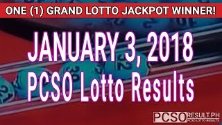 Download PCSO Lotto Results Today January 3, 2018 (6/55, 6/45, 4D, Swertres, STL & EZ2) Video