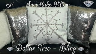 Download DIY DOLLAR TREE WINTER BLING SNOWFLAKE NO SEW PILLOW - GLAM HOME DECOR CRAFT Video