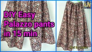 Download How To|DIY Easy Palazzo Pants in 15 min|Beginner|Split Skirt|Asvi Video
