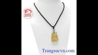 Download Mặt đá thạch anh tóc vàng đẹp, đá quý thiên nhiên, mặt dây phong thủy, TSVN022399 Video