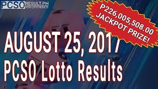Download PCSO Lotto Results Today August 25, 2017 (6/58, 6/45, 4D, Swertres & EZ2) Video