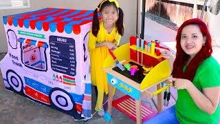 Download Wendy Pretend Play Cooking with Food Truck Tent & Wooden BBQ Grill Toys Video
