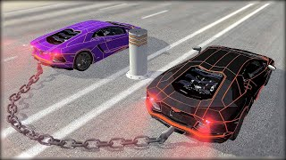 Download CHAINED UP #5 - Bollard - Giant Chain Crashes - BeamNG.Drive Crashes Video