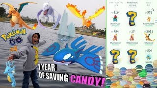 Download PLAYING POKEMON GO AT POKEMON PARK! We Spend Over 1 YEAR Of Saved Up EVOLUTION CANDY!! Video