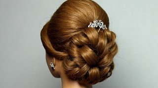 Download Wedding prom hairstyle for long hair. Bridal updo. Video