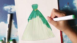 Download How to draw a wedding dress 26 - Vẽ Váy Cưới - An Pi TV Coloring Video
