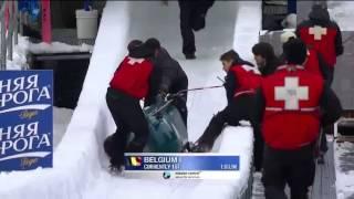 Download Belgian bobsled crashed Video