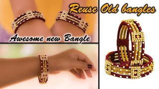 Download Make an awesome new bangle from old glass bangles | OLD BANGLE REUSE | New look | Silk thread bangle Video