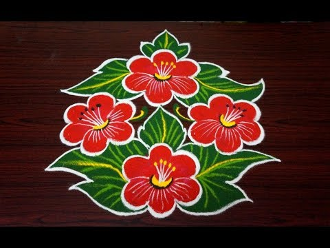 Beautiful flower rangoli design || simple rangoli designs with 7x4 dots || beginners kolam designs