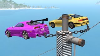 Download Beamng drive - Double Air bollard Chained cars Crashes Video
