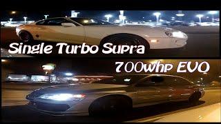 Download Kid STREET RACING Dad's Tesla P85D vs Turbo Supra + 700HP EVO Video