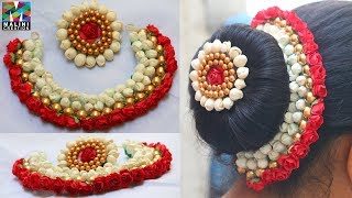 Download DIY /Beautiful red flowers buds & golden beads hair accessory with brooch tutorial Video