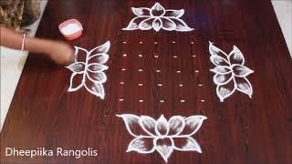 Download simple and easy friday lotus muggulu with 9x3x3 dots friday kolangal new muggulu rangolis Video
