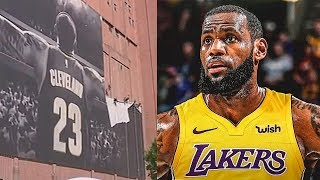 Download LeBron James' Banner Removed In Cleveland After Joining Lakers! Video