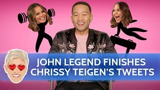 Download John Legend Finishes Wife Chrissy Teigen's Tweets Video
