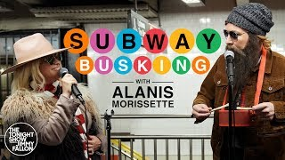 Download Alanis Morissette Busks in NYC Subway in Disguise Video