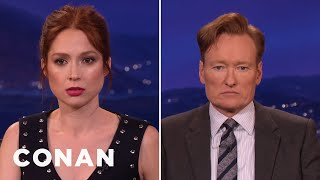 Download Ellie Kemper & Conan Compare Resting Bitch Faces - CONAN on TBS Video