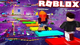 Download LITTLE SISTER CHEATS in ROBLOX *IMPOSSIBLE* RAINBOW SPEED OBBY RACE! Video