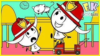 Download FIRE TRUCK Pretend Play Ride On Toy Fun ! Safety First with EK Doodles Emma & Kate Video