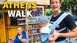 Download Athens Neighborhood Tour - Old Greek Coffee Shop, Convenience Kiosk, and Evening Walk! Video