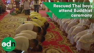 Download Rescued Thai boys attend Buddhist ceremony Video