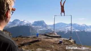 Download BASE jumper survives cliff edge stunt fail in Norway Video