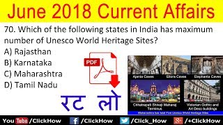 Download Important June 2018 Current Affairs Quiz Question with Answers | Test Your Knowledge | Click How Video