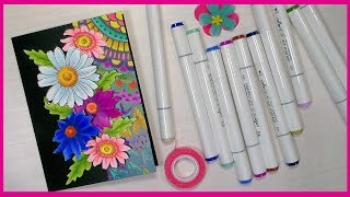 Download Flower Power Card & Alcohol Marker Coloring with NEW Color It Markers! Video