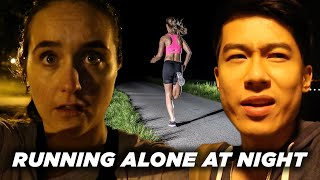 Download A Man And A Woman Compare Running Alone At Night Video