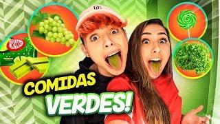 Download 24 HORAS COMENDO COMIDAS DA COR VERDE! Video