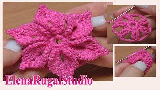 Download Crochet 3D Flower Tutorial 46 Fleur au crochet facile à réaliser Video