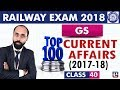 Download Top 100 Current Affairs | 2017-18 | GS | Class 40 | Railway ALP / Group D | 10 PM Video