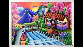 Mewarnai Dengan Crayon 12 Warna Menggambar Pemandangan Rumah Dan