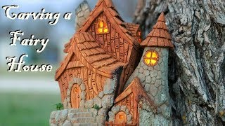 Download I carve a Fairy house from Cottonwood bark Video