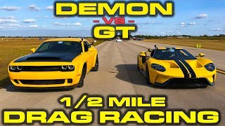 Download 1st new Ford GT down the 1/2 Mile vs Dodge Demon - Drag Racing at Wannagofast Video