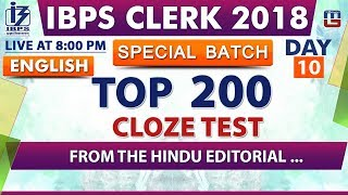 Download Top 200 | Cloze Test | Day 10 | IBPS Clerk 2018 | English | Live at 8:00 pm Video