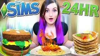 Download 24 HOUR Eating As My Sim Challenge Video