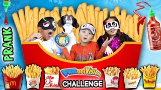 Download French Fry Challenge w/ SRIRACHA HOT SAUCE PRANK! (FUNnel Vision Blind-Folded Taste Test Game) Video