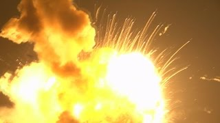Download RAW VIDEO: Close-up view of Antares rocket explosion at Wallops Island, Virginia Video