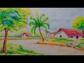 Download How to draw a beautiful village scenery for kids//Easy drawing tutorial Video
